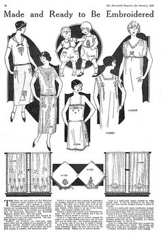 Stamped goods ready to be embroidered - 1926 illustrated magazine page featuring…
