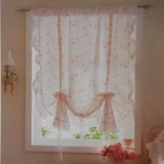 Simply Shabby Chic Ruffle Window Panel / Balloon Shade Floral Rose Print | eBay