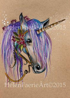 Art Print 27 x 19 cm 'The Magical Faery Unicorn' by HelenFaerieArt