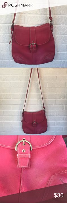 Coach Purse Leather coach purse, small pen mark on front as shown in third picture otherwise bag is in excellent condition!!! Coach Bags