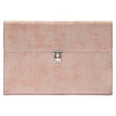 Alexander McQueen Metallic Leather Envelope Clutch ($745) found on Polyvore featuring women's fashion, bags, handbags, clutches, fillers, purses, rose gold, leather hand bags, leather skull purse and leather purse