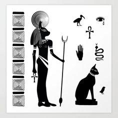 Ancient Egyptian goddess Bastet with a cat's head and ancient Egyptian symbols Art Print by zatmeniee - X-Small Egyptian Symbol Tattoo, Egyptian Cat Tattoos, Egyptian Cats, Egyptian Goddess Tattoo, Viking Symbols, Egyptian Symbols, Ancient Egyptian Art, Mayan Symbols, Viking Runes