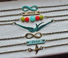 Infinity Bracelet Turquoise Verdigris Love by lakeshorecreations4u, $12.00