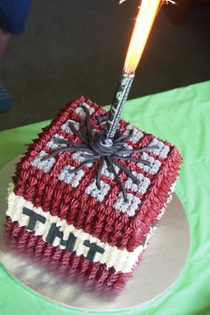 Minecraft birthday cake TNT Block with fountain candle. Buttercream red velvet cake by Rosie Bakes It.