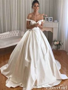 Satin bridal gowns - Simple Princess Ivory Ball Gown Sweetheart Satin Off the Shoulder Wedding Dresses – Satin bridal gowns Royal Wedding Gowns, Wedding Dresses Uk, Bridal Gowns, Modest Wedding, Timeless Wedding Dresses, Buy Wedding Dress Online, Ceremony Dresses, Royal Weddings, Prom Gowns