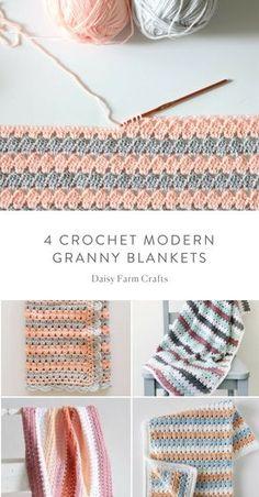 four Free Crochet Fashionable Granny Blanket Patterns Crochet For Beginners Blanket, Baby Blanket Crochet, Crochet Yarn, Crochet Stitches, Free Crochet, Beginner Crochet, Crochet Blankets, Baby Blankets, Modern Crochet Patterns