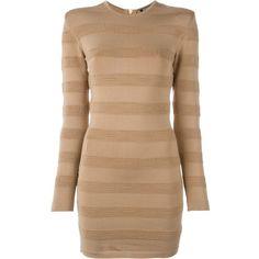 Balmain Striped Pattern Fitted Dress ($789) ❤ liked on Polyvore featuring dresses, balmain, vestidos, short striped dress, zipper back dress, longsleeve dress, stripe dresses and striped dress