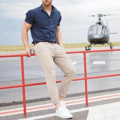 Short sleeve blue shirt chinos and white sneaker by @aligordon89  [ http://ift.tt/1f8LY65 ]