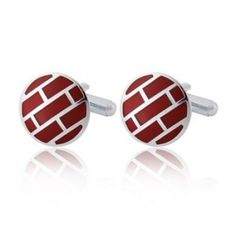 Alloy + Plated Platinum Wall Design French Style Men's Cufflinks (Red) - ostoreit