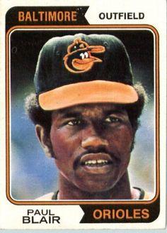 1974 Topps #92 Paul Blair Baltimore Orioles Baseball Card In A Protective…