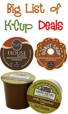 BIG List of K-Cup Deals ~ as low as 42c each + FREE Shipping! #keurig #kcups #thefrugalgirls