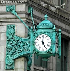 The famous Marshall Field Clock, installed in 1897 Marshall Field and Company Building or Macy's at State Street, in Chicago, Illinois,