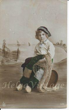 Vintage German NPG tinted photo-postcard little sailor boy with cigarette 1917 Photo Postcards, Vintage Postcards, Sailor, German, Children, Boys, Photos, Painting, Art