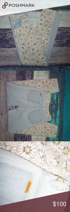Vintage 1980's Jordache High Waist Jeans FLOWERS 5 high waisted jeans that are from the 1980's .  Front has flowers on them .   measurements ......  waist 14 inches (approx)  rise 12 inches  inseam is 30 inches Jordache Jeans Boot Cut