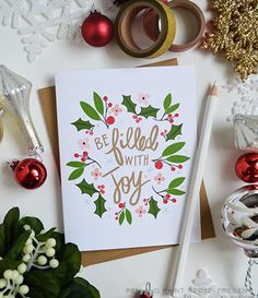 Be Filled with Joy seasonal Folded Note Cards Christmas Stationery Hand Drawn Illustration Holiday Notecards Greeting Cards Painted Christmas Cards, Christmas Card Crafts, Christmas Drawing, Noel Christmas, Christmas Greetings, Handmade Christmas, Holiday Greeting Cards, Xmas Cards, Cards Diy