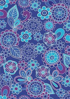 Funky blue flowers scrapbook paper (cliquer au dessus de l'image pour ouvrir PDF)