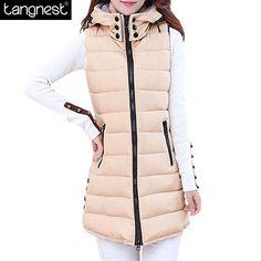 TANGNEST Winter Hooded Vest  Women 2017 New Fashion Waistcoat Plus Size Pockets Zipper Slim Long Style Candy Colors Vests WWV191