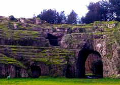 Ancient Roman Ampitheater made of tufo in Sutri, Italy