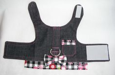 Denim dog harness checkerboard/flower от chiwawagearharnesses