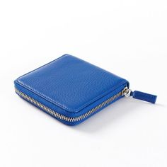 Small Zippered Wallet | Full Grain Leather Cobalt Blue