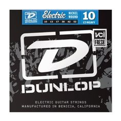Jim Dunlop DEN1052 Dun Elec 10 Lte Top 10-52 by Jim Dunlop. $4.49. Slap some Dunlop Electric Guitar Strings on your favorite axe and get ready to hit your amplifier with gobs of tone. These nickel-plated steel strings are developed by Dunlop to give you exceptional, wide-ranging tone - that means tight, powerful lows, vibrant mids, and chiming highs. Whether you're playing lead or rhythm, you'll appreciate the excellent string-to-string balance and dynamic response. Hey...