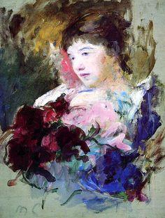 Young Girl Holding a Loose Bouquet  Mary Cassatt - circa 1880