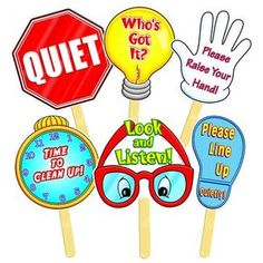 """Plastic-Coated for Durability!Six classroom signs, each comes with an easy-to-use 4"""" wooden handle:- Please Raise Your Hand.- Time to Clean Up.- Who's Got It?- Please Line Up Quietly.- Quiet!- Look and Listen.The teacher silently raises the appropriate sign to direct students to the correct behavior. Each sign measures"""
