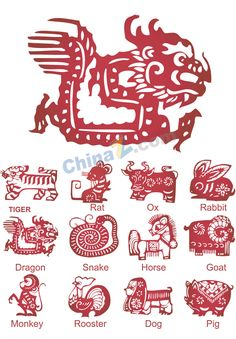 12 Chinese zodiac paper-cut vector graphics download