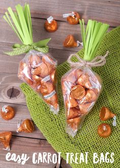 Here's a simple way to make those fun carrot-shaped treat bags you see this time of year – for much less than it costs to buy the cone shaped plastic bags! Supplies: plastic treat bags Carrot Cake Hershey's Kisses (or other orange candy) Fringe Scissors green cardstock ribbon or twine clear tape To make your...Read More »
