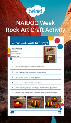 This resource would be a great activity to do with your students during NAIDOC Week. Students will use sharpies and rocks to create Aboriginal flag-inspired designs. Aboriginal Flag, Naidoc Week, Smooth Rock, Sharpies, Done With You, Activities To Do, Rock Art, Rocks, Students