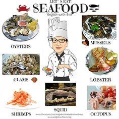 ESL, EFL, English Vocabulary, Seafood, English with Eva