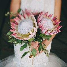 Brides: Modern Posy of Pink King Protea. A modern posy comprised of pink king protea and greenery, created by Artisan Events.