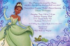 Princess and the Frog Custom Invitation - Disney Invitations - Custom Invitations - Birthday Invitations - Birthday Party Supplies - Categories - Party City Disney Invitations, Custom Birthday Invitations, Bridal Shower Invitations, Disney Princess Tiana, Princess Party, Frog Baby Showers, Disney Bridal Showers, Party Stores, Party Themes