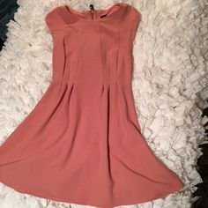 TopShop pink + rose gold crepe dress size 4 Gorgeous dress worn for a wedding one time. Stretchy crepe type material. Topshop Dresses Mini