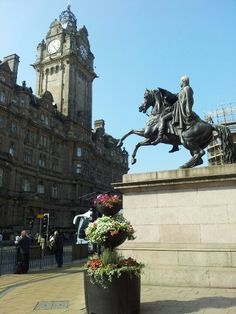 The 'iron' Duke in bronze by Steell. Statue of Wellington opposite The Balmoral Edinburgh.