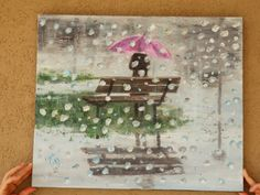 Original Oil Large painting.Autumn rain. Melancholy by NatkaArt, $250.00