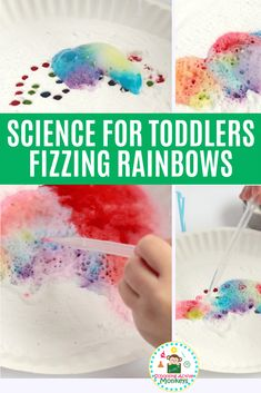 Why does baking soda and vinegar fizz? Try the fizzing rainbow experiment perfect as toddler science and preschool science experiments! - Kids education and learning acts