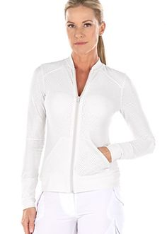Biker White- Long Sleeve Zip Up Mesh Travel Jacket for Women