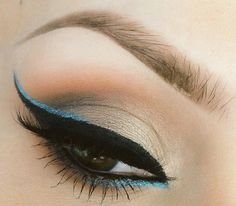 """Summer glam #makeup inspro: Add """"On Trend"""" blue eyeliner to the black wing with earthy golden earthy creased shadow."""