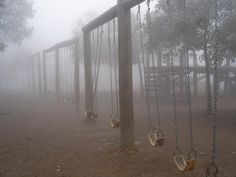 swings a foggy day. Dark | Photography | Moody | Fog Story Inspiration, Writing Inspiration, Character Inspiration, Silent Hill, Southern Gothic, Abandoned, Mists, San Diego, Dark Photography