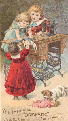 """Vintage: The Improved """"Domestic"""" Sewing Machine. Free Dolls Clip Art - Children Sewing For Dolls - Doll Collecting"""