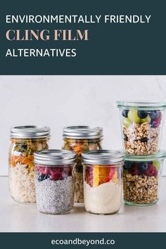 Are you trying to remove all single-use plastic from your life? If yes, awesome! Have you thought about swapping out cling film for something more eco friendly? There are some great substitutes for plastic wrap on the market. They'll have you saying goodbye to cling film – and consuming less plastic – in no time! #plasticfree #zerowaste #ecolifestyle #greenliving Glass Jars, Mason Jars, No Plastic, Plastic Wrap, Sustainable Living, Organization Hacks, Food Hacks, Crockpot Recipes, Good Food