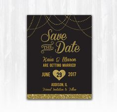 Gold Glitter Save The Date Magnet or Card DIY PRINTABLE