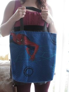 Spiderman Tote Bag by sparklegirl on Etsy.  I could make this if Spiderman fabric is available.