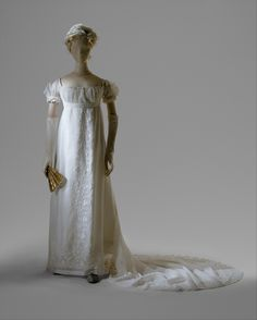 """On December 24, 1803, Jerome Bonaparte (1784—1860), brother of Napoleon, wed Elizabeth Patterson (1785—1879) of Baltimore.  The beautiful and fashionable young American was married in a dress of muslin and lace that, according to a contemporary, """"would fit easily into a gentleman's pocket"""