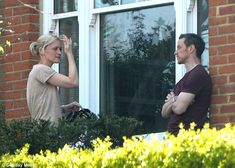 James McAvoy and Anne-Marie Duff talk outside their London home ...