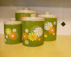 Vintage #Avocado Flower Storage Canisters by SwankYou on Etsy, $36.99
