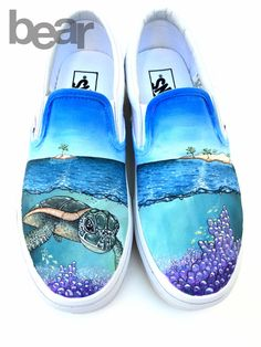 Custom Painted Vans Shoes – Hand Painted Sea Turtle, Coral, Islands - All About Custom Vans Shoes, Custom Painted Shoes, Painted Vans, Painted Canvas Shoes, Painted Sneakers, Hand Painted Shoes, Vans Shoes Fashion, Sharpie Shoes, Cute Vans