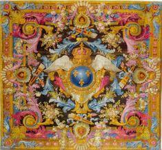 """""""Tapis aux armes de France couronnées, de la Manufacture de la Savonnerie. Tissage de la seconde moitié du XVIIIe siècle, d'un modèle dessiné par Pierre Josse PERROT en 1738 pour la salle à manger du château de Choisy."""""""