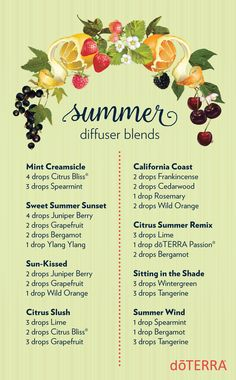 Summer is coming! Welcome it with these deliciously smelling diffuser blends.